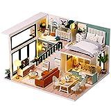 Fsolis Miniatura de la casa de muñecas con Muebles, Equipo de casa de muñecas de Madera 3D, más Resistente al Polvo y el Movimiento de música Regalo Creativo L31
