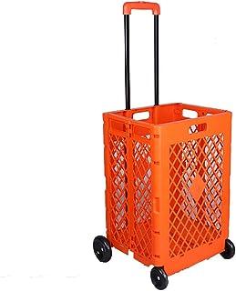 YWXLC Chariots de manutention Pliage en Plastique supermarché Caddie Caddie Panier Chariot Portable Voiture Bagages Push b...