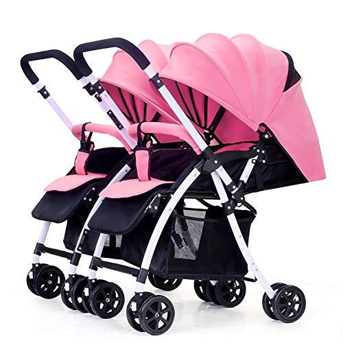 TY-Baby trolley Mmm @ Poussette de bébé jumeau, Chariot Infantile Double inversable Chariot ( Color : Rose )
