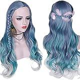 Yunsi Pelucas sintéticas de pelo largo ondulado mezclado violeta, azul, verde, gris...