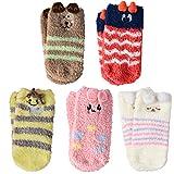 VBIGER Calcetines de Invierno Calcetines de Piso Calientes para Niños y Niñas de 1-3 Años Vellón de Coral Abrigados 5 Pares