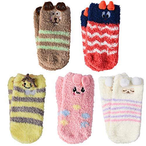 VBIGER 5 Paar Baby Socken Antirutschsocken Stoppersocken Warme ABS-Krabbelsöckchen Fleece Socken für Kleinkind Mädchen & Jungen 0-3 Jahren