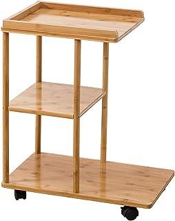 SH-tables Table de Stockage d'étagère d'armoire latérale d'armoire latérale de Sofa de côté de Sofa en Bois avec des Roues...