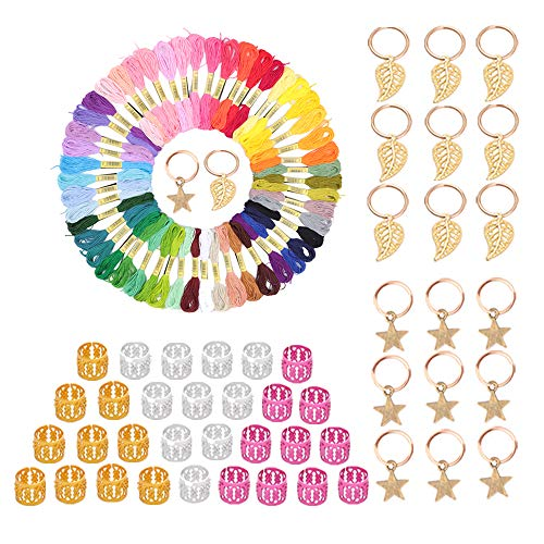 Hair Accessory Colorful Hair String Hair Thread Yarn 50 Pieces Combined With 20 Pieces Hair Pendants Dreadlock Jewely For Women and Men (MIX COLOR)