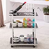 N/Z Home Equipment Rolling Bar Cart Metal Rolling Bar Cart with Tempered Glass 3 Tier Glass Bar and Kitchen Trolley Cart Tea Serving Bar Cart with 4 Wheels(Silver)