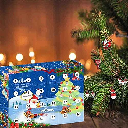 D-Rings Calendrier de l'Avent 2021, calendrier de l'avent de Noël, 24 surprises Kit bracelet, collier, porte-clés, breloques, calendrier de Noël pour fille (jouet)