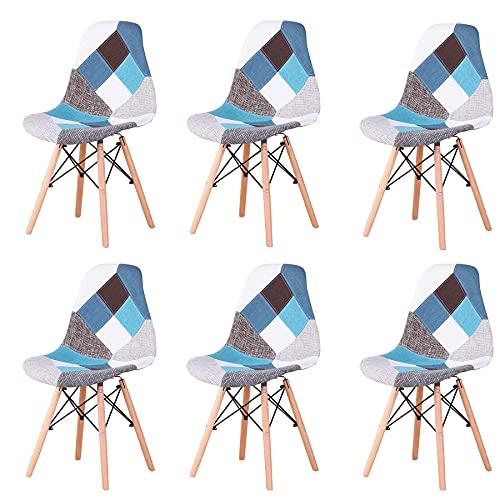 GrandCA HOME Pack de 4 sillas Sillas de Retazos Multicolores en Tela de Lino Sillas de Sala de Estar de Ocio Sillas de Comedor con Respaldo de cojín Suave (6-Blue)