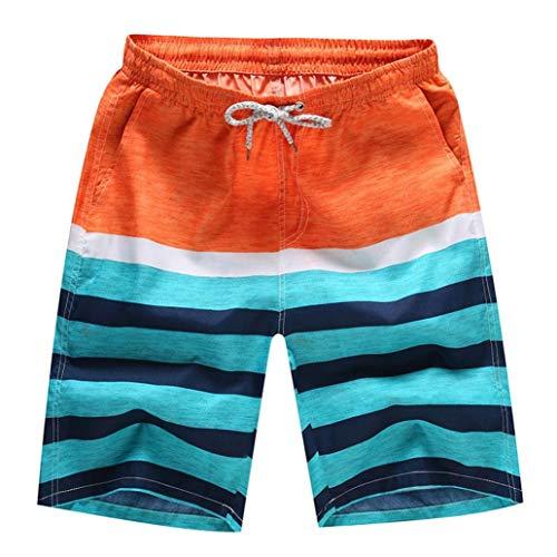 HaiDean Uomini Shorts Bagno Asciutto Beach Casual Rapido Nuoto Moderna Surf Running Trombe Marine Pantaloni Casual Epoca (Color : Arancia, Taglia Unica : XXL)