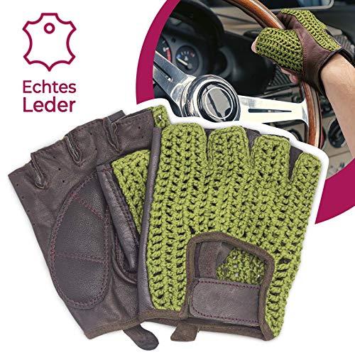 Autofahrer Handschuhe Retro Vintage Leder Fingerlose Fahrerhandschuhe Fahrrad Grün