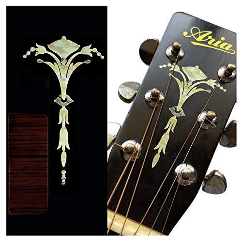 Inlay Sticker für Gitarre Kopfplatte - Old Torch - Alt Weiß Perle