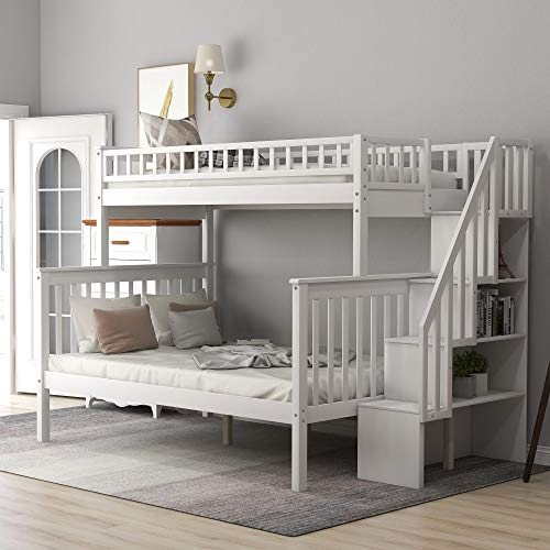 Bunk Beds Twin Over Full Size for Kids with 4 Drawers in The Steps (White)