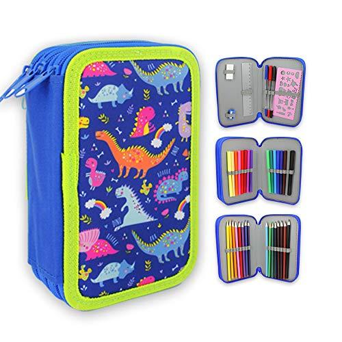 Starplast, Estuche Escolar Plumier, 3 Compartimentos, 16 Lápices de Colores, 16 Rotuladores de Colores, Regla, Sacapuntas, Goma, 3 Bolígrafos para Uso Escolar, Regalo, Diseño Dinosaurios.