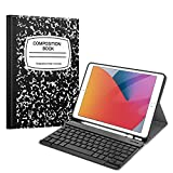 Fintie Keyboard Case for New iPad 8th Gen (2020) / 7th Generation (2019) 10.2 Inch, Soft TPU Back Stand Cover with Pencil Holder, Magnetically Detachable Wireless Bluetooth Keyboard, Composition Book