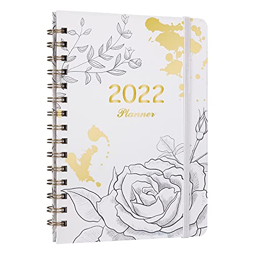 TOUVE Academic Diary 2022 A5 Weekly & Monthly Planner Diary 2022 to View 12 Month Planner from January 2022 to December 2022 Monthly Diary Planner for Busy Schedules with Inner Pocket Elastic Binding