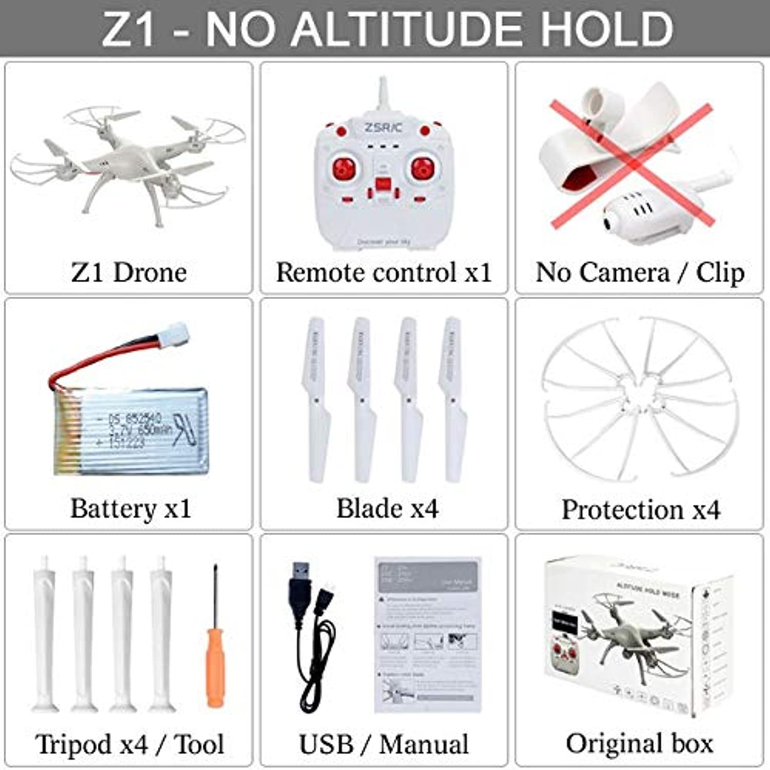 Generic Fast delivery Z1 Or Z1W Quadcopter One Key Return Headless Can Add WiFi FPV HD Camera Altitude Hold Drone RC Helicopter VS X5C1 Z1 Box 1BAT