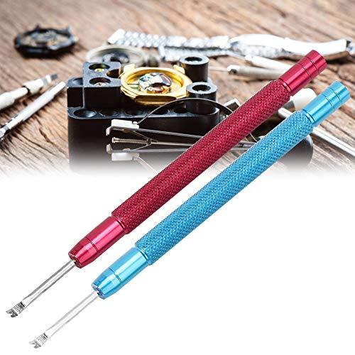 2-teiliger Hebel für Uhrenzeiger, Entfernen von Uhrennadeln Entfernen von Uhrenreparaturzubehör, Werkzeug zum Entfernen von Uhrenzeigern (Rot + Blau)