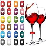36 Pièces Marqueurs de Verre à Vin Marqueurs de Charme de Boisson Colorés Marqueurs de Vin en Silicone pour Coupe en Verre Bouteilles à Cocktail au Champagne Faveur de Fête de Mariage