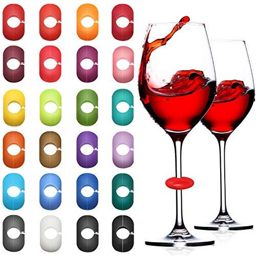 36 Pezzi Marcatori per Bicchieri da Vino Marcatori Colorati Ciondoli di Bevanda Segnabicchieri Vino in Silicone per Vetro Tazza Champagne Cocktail Bottiglia Nozze Bomboniera