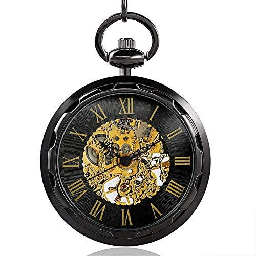 SGSG Reloj de Bolsillo, Reloj de Bolsillo clásico, Reloj de Bolsillo con Doble Hueco, Concha de Moda Retro, señora, Estudiantes Masculinos, Reloj de Cristal, Espejo, Relojes mecánicos h
