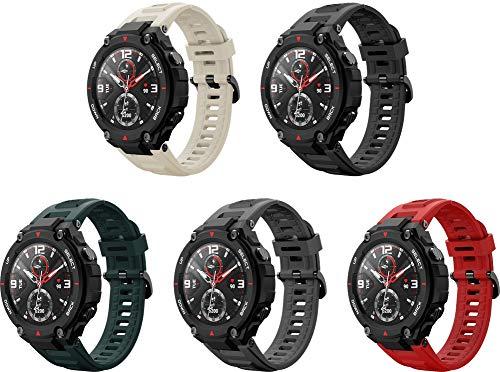 Simpleas Correa de Reloj Recambios Correa Relojes Caucho Compatible con Amazfit T-Rex - Silicona Correa Reloj con Hebilla (5PCS F)
