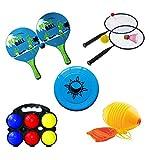 L.A. Sports Garten & Strandspiele 6 Spiele im Set Mini-Federball & Strandtennis Boccia Beach-Ball Frisbee Boing-Ball