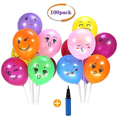 100pcs Smiley Balloon Colorati Emoji Emoticon Palloncini Lattice Colorati + 1 Pompa a Palloncino per Compleanni Festa per Bambini,Natale,Party, Matrimoni, Nozze Decorazione Regalini Fine