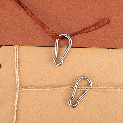 SUI-lim 4Pcs 304 Stainless Steel Oblong Eye Pad Plate and 4 PCS Carabiner Clips 5 mm Heavy Duty Metal Hooks Metal Staple Ring Hook Hardware With 2 Holes