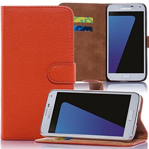 numerva LG G4C Hülle, Schutzhülle [Bookstyle Handytasche Standfunktion, Kartenfach] PU Leder Tasche für LG G4C H525N Wallet Hülle [Orange]