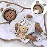 Pinky 18' 45cm Lifelike Reborn Baby Doll Lovely Soft Doll Silicone Realistic Looking Newborn Doll Native American Indian Black Skin Girl Doll Toy