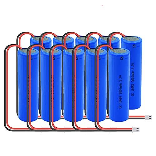 HTRN 3.7v 3800mah 18650 Batterie Ni-Mh, Batterie Rechargeable avec Prise Xh-2p + Cordon De Bricolage Adapté Aux LumièRes LED De Voiture 10PCS