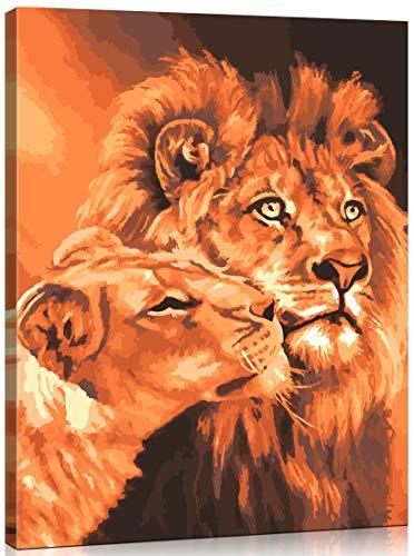 WONZOM Holzrahmen Malen nach Zahlen Kit für Erwachsene - Löwen Tiere Mit Rahmen - Enthält Pinsel, Acrylfarben und nummerierte Leinwand - 40 x 50cm - Großartig für Kinder und Erwachsene