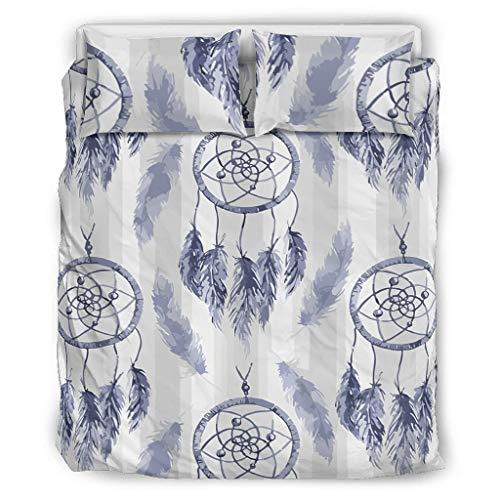 Tentenentent Dreamcatcher Bedspread Comforter Sets Premium Set of 3 Pillowcases and Pillowcases - Minimalism Soft and Comfortable Bohemian Bedding Set White 264 x 229 cm