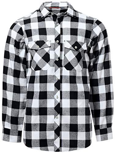 J.VER Herren Hemd Kariertes Freizeithemd Normale Passform Lange Ärmel Flanellhemden 8oz - Farbe:Weiß&schwarz, Größe:EU-XXX-Large