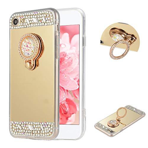 LCHDA Funda para iPhone 6/6S, Bling Diamante de Imitación Espejo de Maquillaje con Purpurina Brillante Transparente Cristal Parachoques Anti-arañazos Carcasa con Soporte de Anillo, Oro
