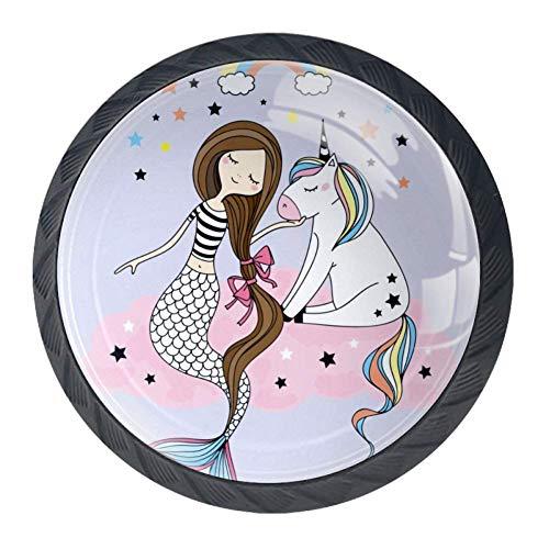 Pequeño unicornio y sirena sentado en la nube rosa arco iris y estrellas DIY para el hogar, armario,…
