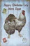 Retro Tin Posters Happy Hühner legen mehr Eier, Hahn Metall blechschild, Vintage Style Wandbild Ornament Kaffee & Bar Decor, Größe 20,3x 30,5cm