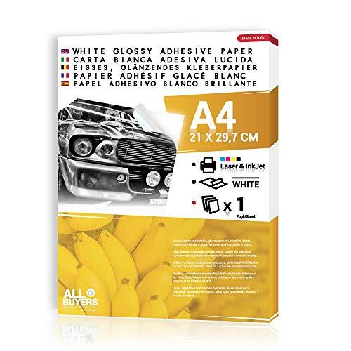 2AINTIMO hoogglans wit DIN A4 - individueel glanzende etiketten en stickers voor laser- en inkjetprinters