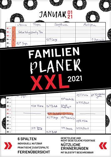 XXL Familienplaner 2021 zum Aufhängen in DIN A3. Hochwertiger und übersichtlicher Familienkalender 2021 mit 3 bis 6 Spalten, plus einer Zusatzspalte. ... Feiertage, Ferien und Zusatzinfos.