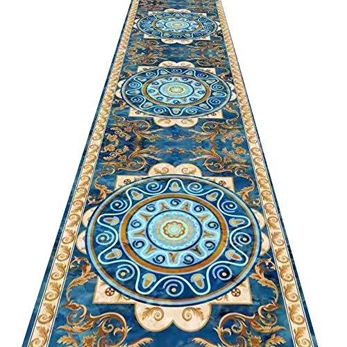 ZRUYI Tappeti Runner Tappeto Passatoia Corridoio Carpet Blu Classico Stampa Tappeto Lungo Resistente all'Usura Tappetini, Taglia Personalizzabile (Color : A, Size : 1x3m)