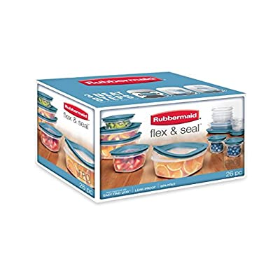 Rubbermaid 26 Piece Flex & Seal with Leak Proof Lids, Easy to find, snaps right on to the bases