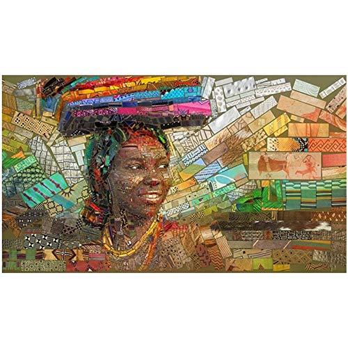 FHGFB 5D DIY Diamante Dipinto Libro delle Donne africane intarsiato Diamante Dipinto d'Arte Regalo per Bambini Decorazione Opera d'Arte Diamante Quadrato Senza Cornice -30x50cm