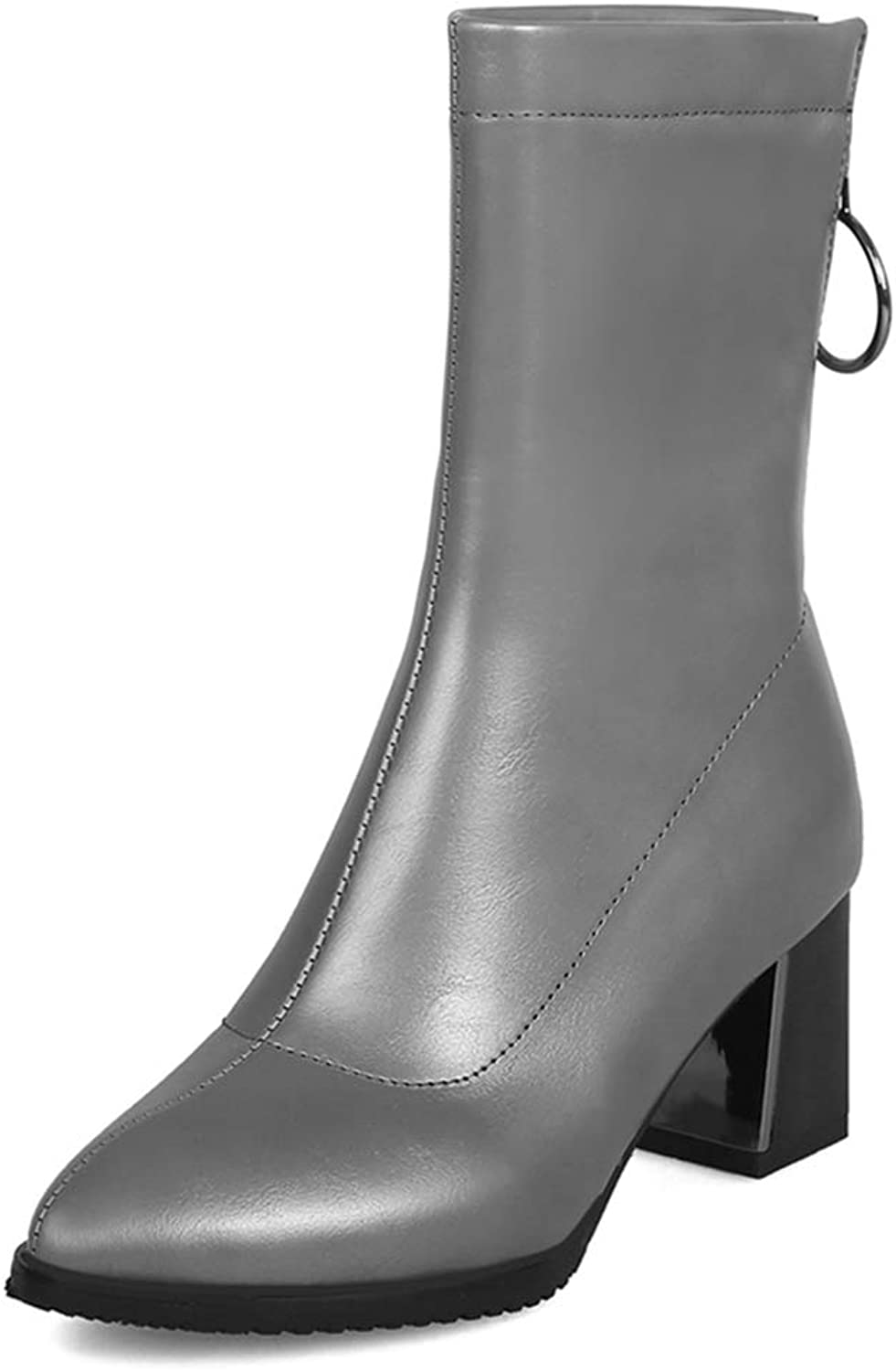GIY Women's Pointed Toe Dressy Western Chunky Ankle Boots Platform Metallic Zip Bootie Martin Short Boots