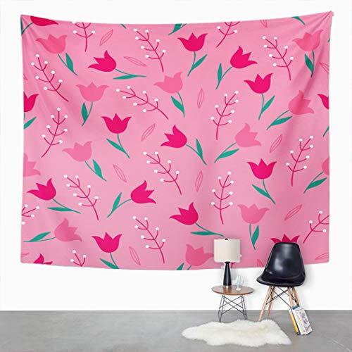 Y·JIANG Tapiz de verano rosa, tulipanes y brances de dibujos animados elegante dormitorio decorativo grande tapiz, amplia pared colgante manta para sala de estar, dormitorio, 203 x 152 cm