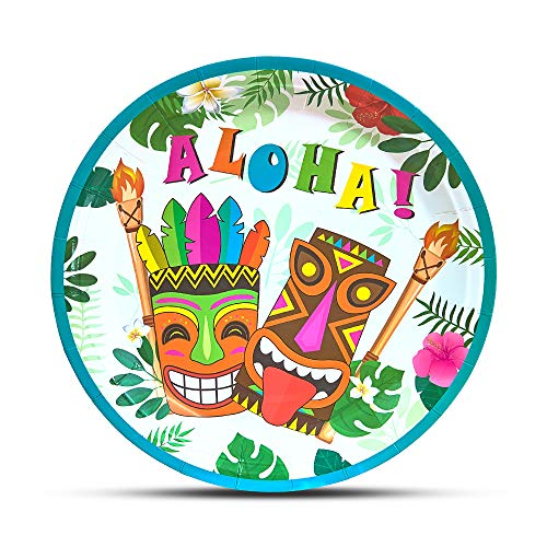 WERNNSAI Hawaiian Luau Party Supplies - 50PCS 9' Disposable Aloha Dinner Plates Tropical Tiki Patterned Tableware Luncheon Plates for Birthday Summer Pool Beach Party