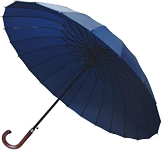 COLLAR AND CUFFS LONDON - 24 Ribs for Super-Strength - Windproof 60mph Extra Strong - Triple Layer Reinforced Frame with Fiberglass - Auto - Hook Handle Wood - Navy Blue Canopy Umbrella - Automatic