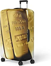 Pinbeam Luggage Cover Yellow Bullion Gold Bars Ingot Vault Reserve Wealth Travel Suitcase Cover Protector Baggage Case Fits 22-24 inches