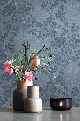 NEWROOM Tapete Blau Vliestapete Blumen - Blumentapete Floral Weiß Dunkelblau Blätter Blüten Mustertapete Modern Natur inkl. Tapezier-Ratgeber