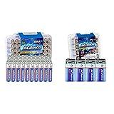 ACDelco AAA Batteries, Maximum Power Super Alkaline Battery, 60 Count (Pack of 1) & 9 Volt Batteries, Super Alkaline Battery, 12 Count Pack