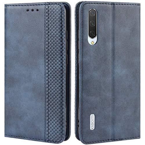 HualuBro Handyhülle für Xiaomi Mi A3 Hülle, Retro Leder Brieftasche Tasche Schutzhülle Handytasche LederHülle Flip Hülle Cover für Xiaomi Mi A3 - Blau