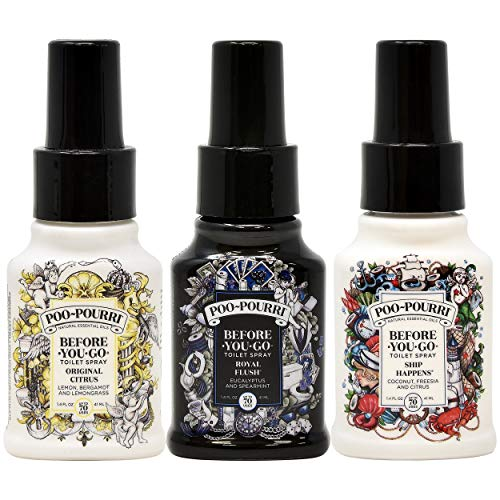 Poo-Pourri Before You Go Toilet Spray Original Citrus, Royal Flush and Ship Happens 1.4 Ounce Bottles